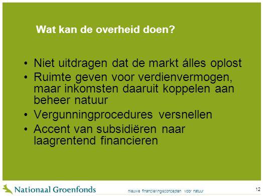 nieuwe financieringsconcepten voor natuur 12 Wat kan de overheid doen.