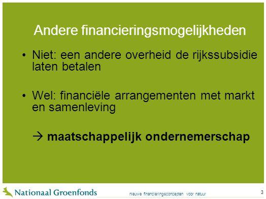 nieuwe financieringsconcepten voor natuur 3 Andere financieringsmogelijkheden Niet: een andere overheid de rijkssubsidie laten betalen Wel: financiële arrangementen met markt en samenleving  maatschappelijk ondernemerschap