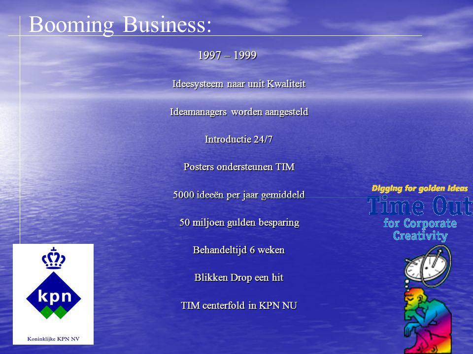 1997 – 1999 Ideesysteem naar unit Kwaliteit Ideamanagers worden aangesteld Introductie 24/7 Posters ondersteunen TIM 5000 ideeën per jaar gemiddeld 50 miljoen gulden besparing Behandeltijd 6 weken Blikken Drop een hit TIM centerfold in KPN NU Booming Business: