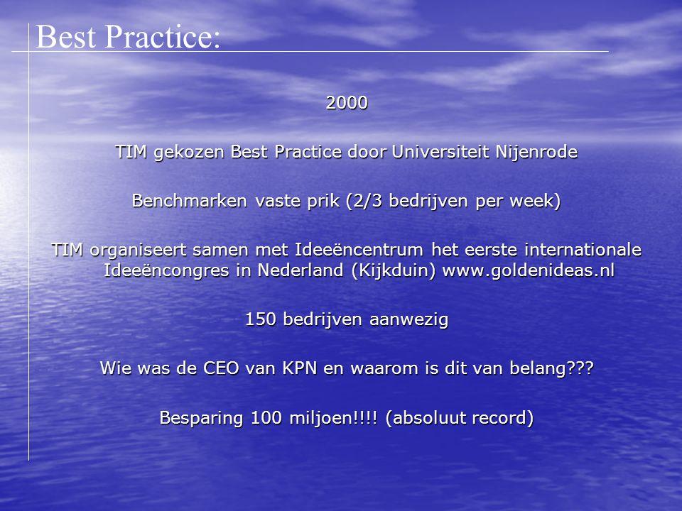 2000 TIM gekozen Best Practice door Universiteit Nijenrode Benchmarken vaste prik (2/3 bedrijven per week) TIM organiseert samen met Ideeëncentrum het eerste internationale Ideeëncongres in Nederland (Kijkduin) www.goldenideas.nl 150 bedrijven aanwezig Wie was de CEO van KPN en waarom is dit van belang .