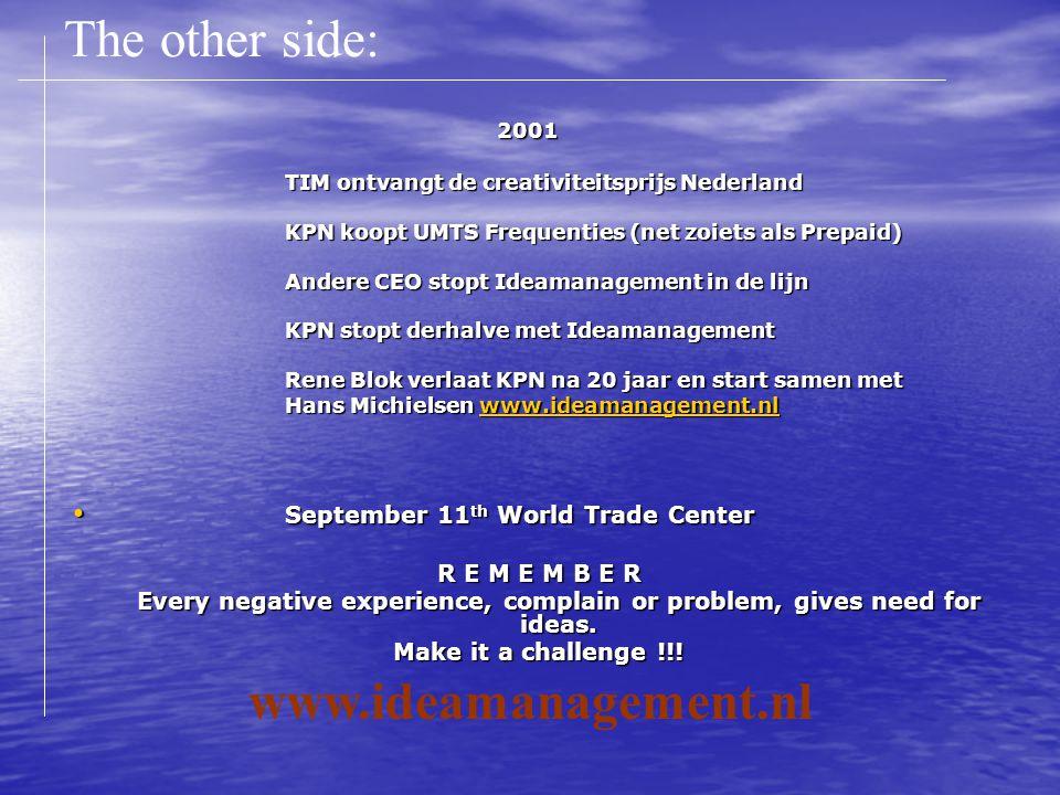 2001 TIM ontvangt de creativiteitsprijs Nederland KPN koopt UMTS Frequenties (net zoiets als Prepaid) Andere CEO stopt Ideamanagement in de lijn KPN s