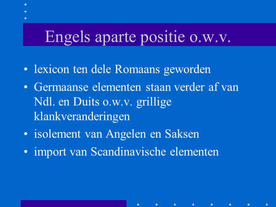 Engels aparte positie o.w.v. lexicon ten dele Romaans geworden Germaanse elementen staan verder af van Ndl. en Duits o.w.v. grillige klankveranderinge