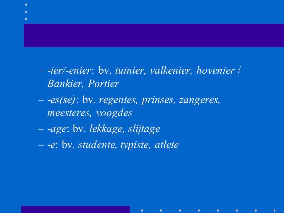 –-ier/-enier: bv. tuinier, valkenier, hovenier / Bankier, Portier –-es(se): bv. regentes, prinses, zangeres, meesteres, voogdes –-age: bv. lekkage, sl