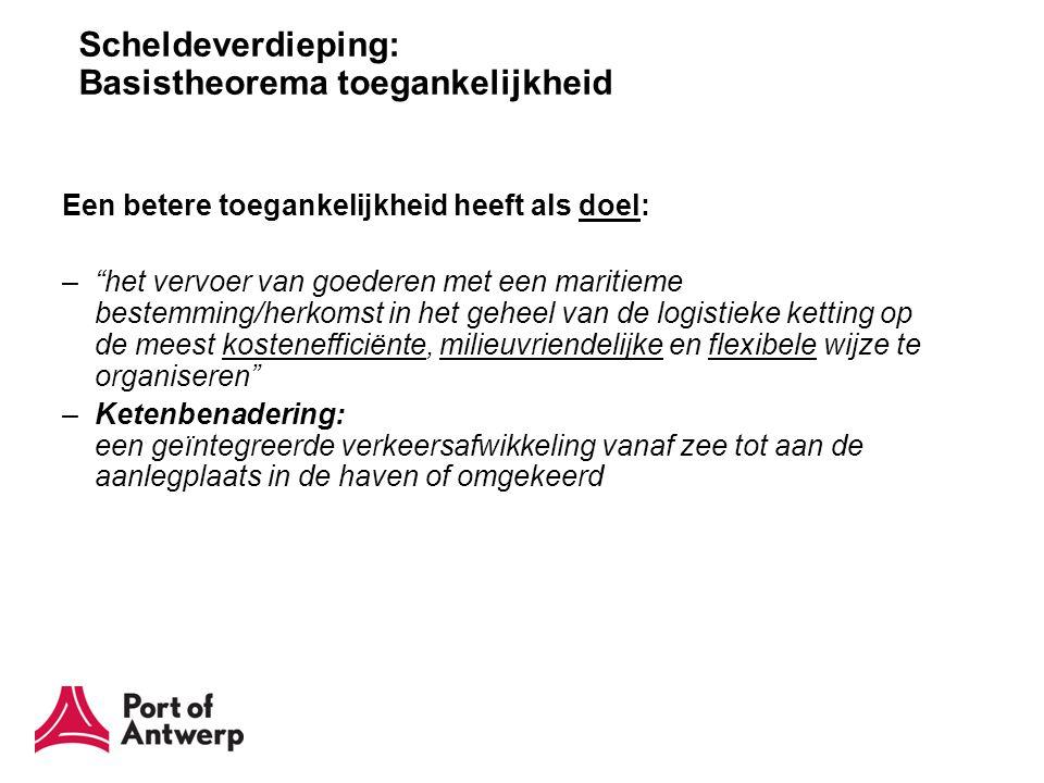 """Scheldeverdieping: Basistheorema toegankelijkheid Een betere toegankelijkheid heeft als doel: –""""het vervoer van goederen met een maritieme bestemming/"""