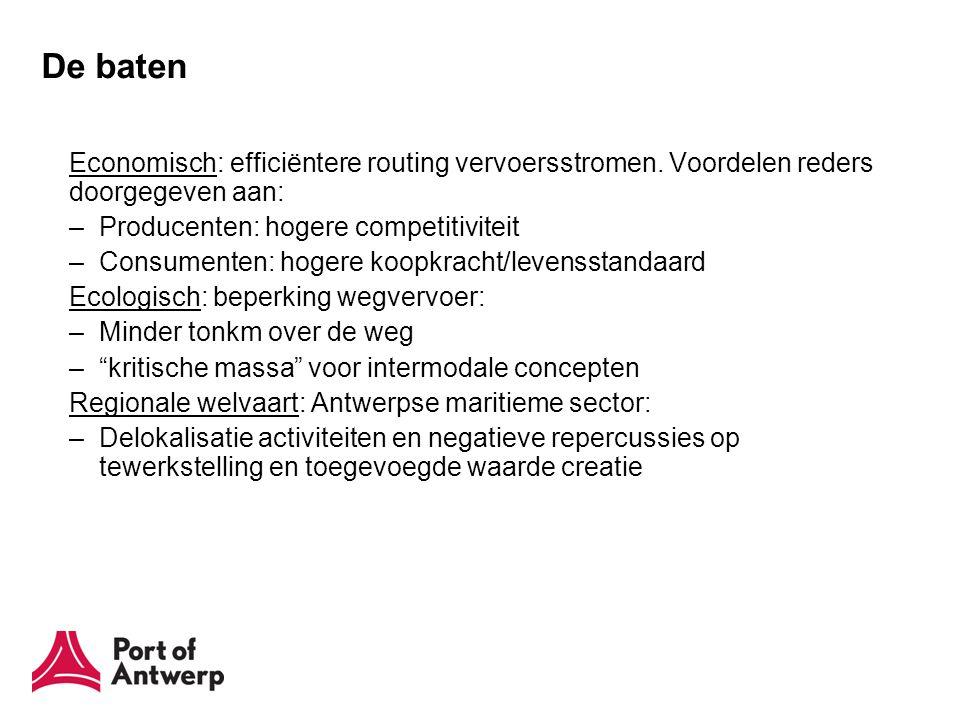 De baten Economisch: efficiëntere routing vervoersstromen. Voordelen reders doorgegeven aan: –Producenten: hogere competitiviteit –Consumenten: hogere