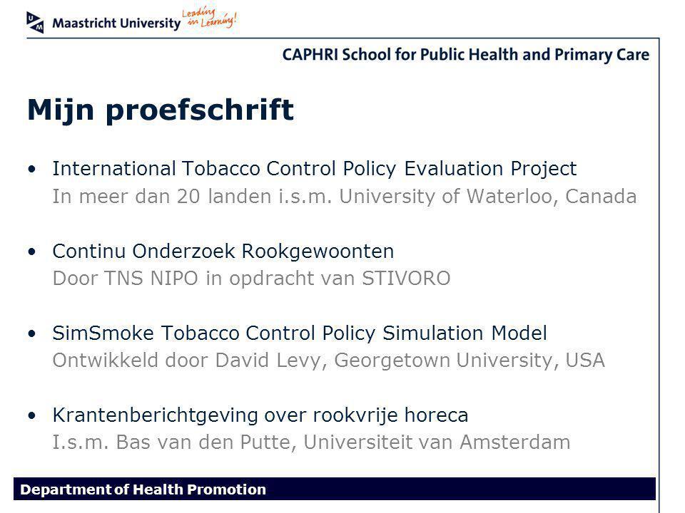 RookverbodenStoppen met roken Stimuleren stoppen met roken Volledige rookverboden meer effect dan gedeeltelijke Draagvlak voor het rookverbod verklarende factor