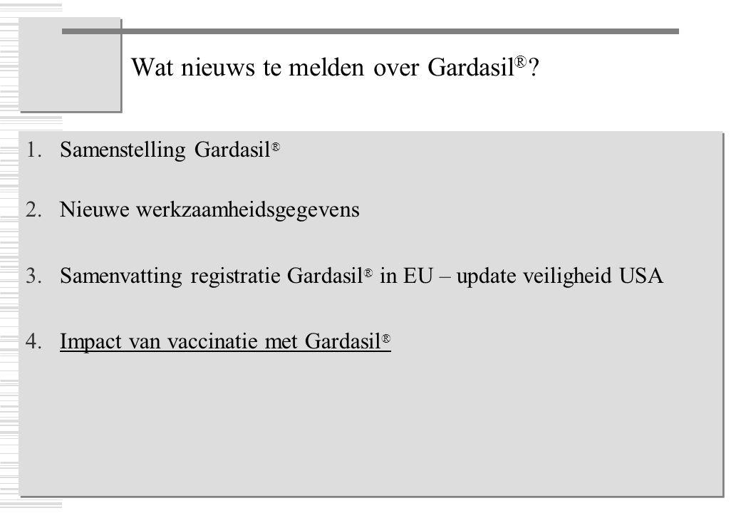 Wat nieuws te melden over Gardasil ® ? 1.Samenstelling Gardasil ® 2.Nieuwe werkzaamheidsgegevens 3.Samenvatting registratie Gardasil ® in EU – update