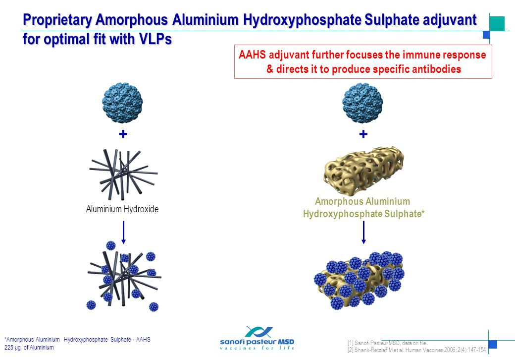 Aluminium Hydroxide AAHS stabilises VLPs and binds more VLPs than other aluminium adjuvants 1,2 AAHS maximises immuno- genicity of VLPs 1 * Amorphous Aluminium Hydroxyphosphate Sulfate, 225 μg of Aluminium AAHS Aluminium Phosphate ELISA IgG anti-HPV16 L1 (GMT) 3 weeks post dose 2 10 6 10 7 % of [HPV16 VLPs bound to Al] out of [Total HPV16 VLPs] [Total HPV16 VLPs]/[Total Aluminum] (w/w) AAHS Aluminium Hydroxide Aluminium Phosphate 70 75 80 85 90 95 100 110 Binding capacity of different aluminium adjuvants to HPV 16 VLP Antibody response to HPV 16 VLP formulations with different Aluminium adjuvants measured in vivo in Balb c mice Selection of AAHS* Over Aluminum Hydroxide as Adjuvant for Gardasil ® [1] Sanofi Pasteur MSD, data on file [2] Shank-Retzlaff M et al.