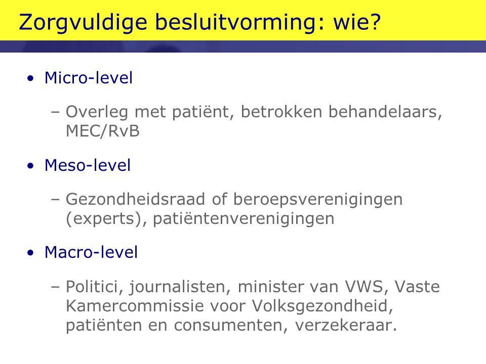 Zorgvuldige besluitvorming: wie? Micro-level –Overleg met patiënt, betrokken behandelaars, MEC/RvB Meso-level –Gezondheidsraad of beroepsverenigingen
