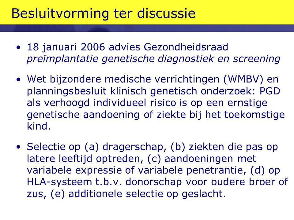 Besluitvorming ter discussie 18 januari 2006 advies Gezondheidsraad preïmplantatie genetische diagnostiek en screening Wet bijzondere medische verrich