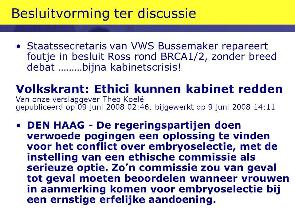 Besluitvorming ter discussie Staatssecretaris van VWS Bussemaker repareert foutje in besluit Ross rond BRCA1/2, zonder breed debat ………bijna kabinetscrisis.