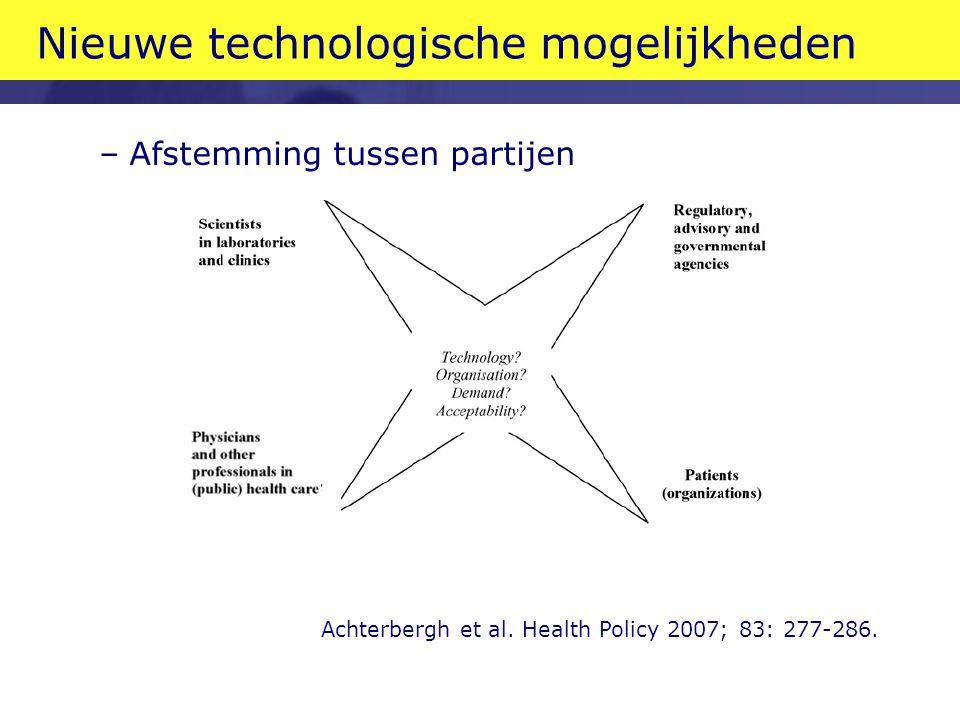 Nieuwe technologische mogelijkheden –Afstemming tussen partijen Achterbergh et al. Health Policy 2007; 83: 277-286.