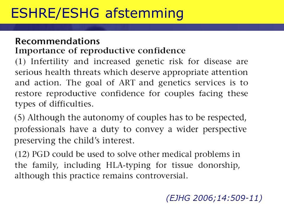 ESHRE/ESHG afstemming (EJHG 2006;14:509-11)