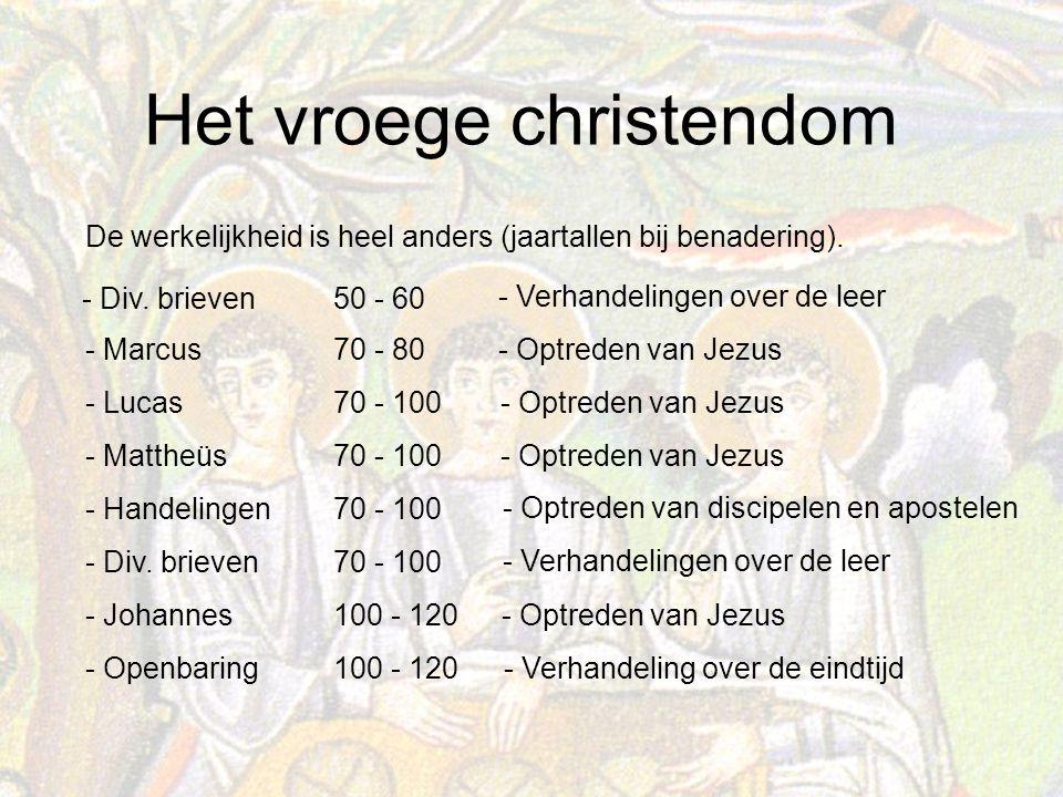 Het vroege christendom De werkelijkheid is heel anders (jaartallen bij benadering).