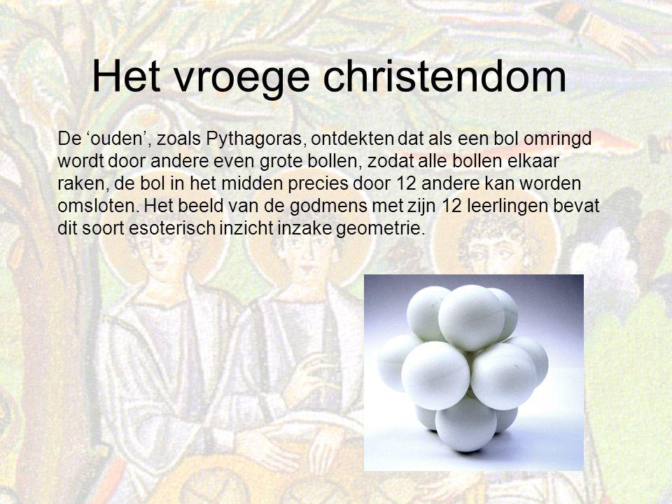 Het vroege christendom De 'ouden', zoals Pythagoras, ontdekten dat als een bol omringd wordt door andere even grote bollen, zodat alle bollen elkaar raken, de bol in het midden precies door 12 andere kan worden omsloten.