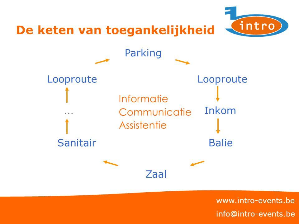 De keten van toegankelijkheid www.intro-events.be info@intro-events.be Parking Looproute Inkom Zaal Balie Looproute … Sanitair Informatie Communicatie