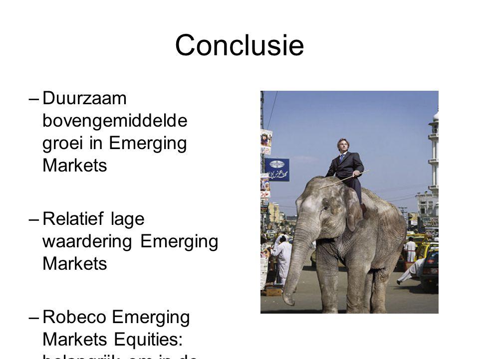 Conclusie –Duurzaam bovengemiddelde groei in Emerging Markets –Relatief lage waardering Emerging Markets –Robeco Emerging Markets Equities: belangrijk