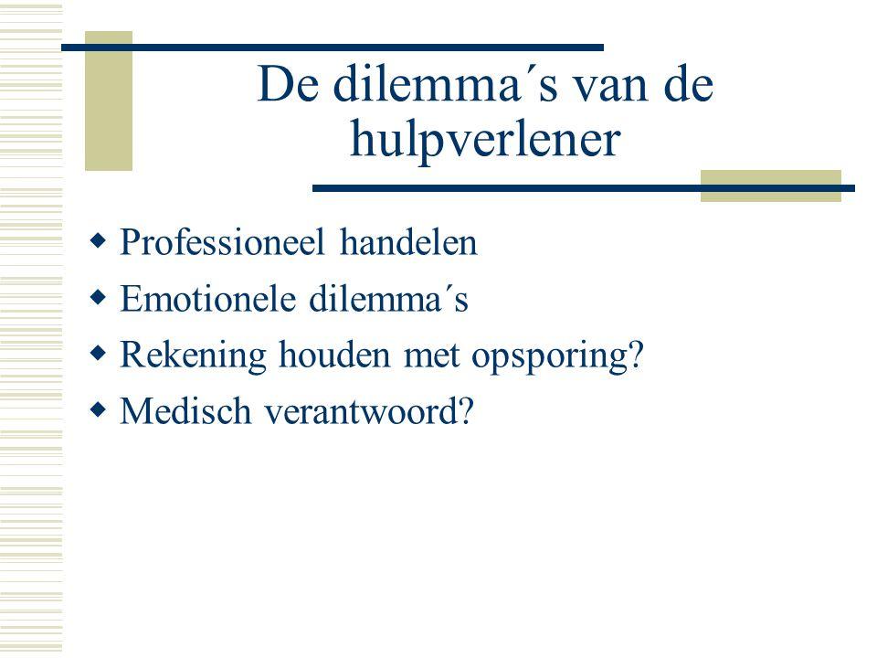 De dilemma´s van de hulpverlener  Professioneel handelen  Emotionele dilemma´s  Rekening houden met opsporing.