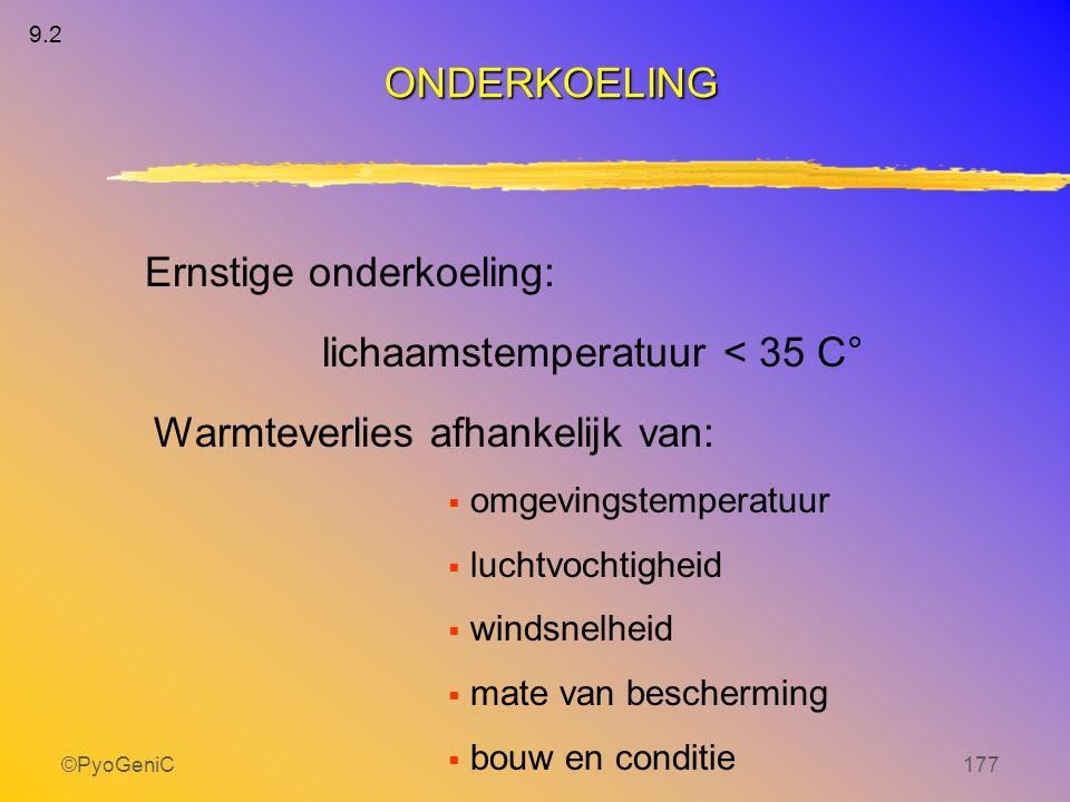 ©PyoGeniC177 Ernstige onderkoeling: lichaamstemperatuur < 35 C° Warmteverlies afhankelijk van:  omgevingstemperatuur  luchtvochtigheid  windsnelhei
