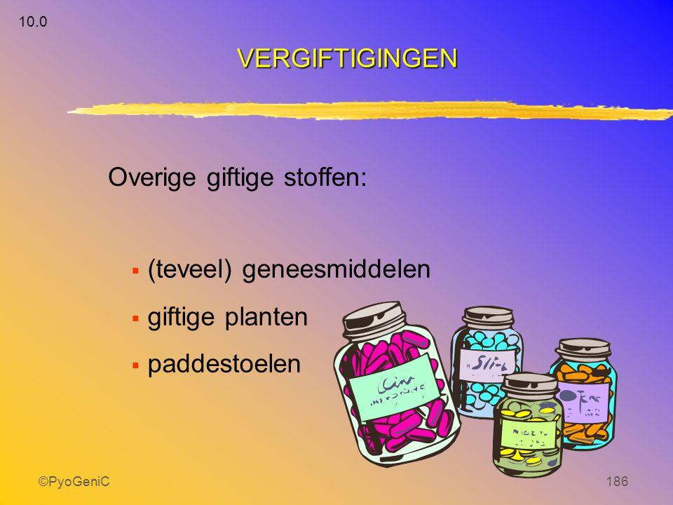 ©PyoGeniC186  (teveel) geneesmiddelen  giftige planten  paddestoelen Overige giftige stoffen: VERGIFTIGINGEN 10.0