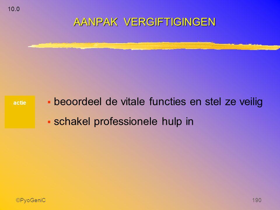 ©PyoGeniC190  beoordeel de vitale functies en stel ze veilig  schakel professionele hulp in actie AANPAK VERGIFTIGINGEN 10.0