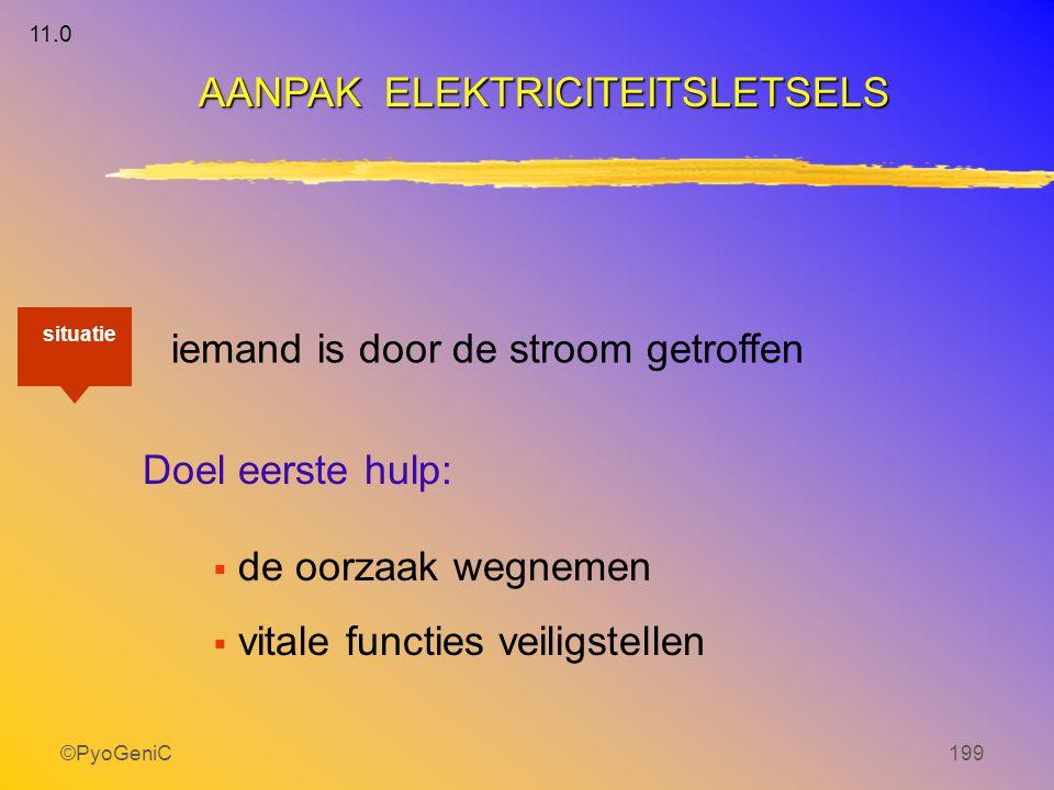 ©PyoGeniC199 iemand is door de stroom getroffen Doel eerste hulp:  de oorzaak wegnemen  vitale functies veiligstellen AANPAK ELEKTRICITEITSLETSELS s