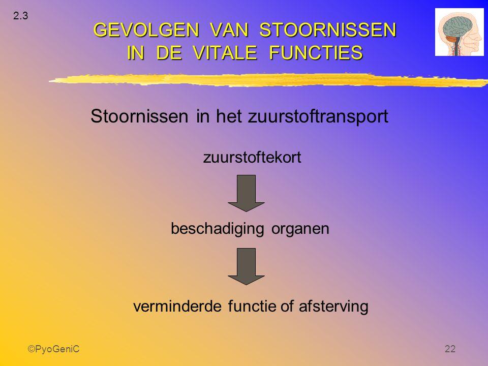 ©PyoGeniC22 Stoornissen in het zuurstoftransport verminderde functie of afsterving zuurstoftekort beschadiging organen GEVOLGEN VAN STOORNISSEN IN DE