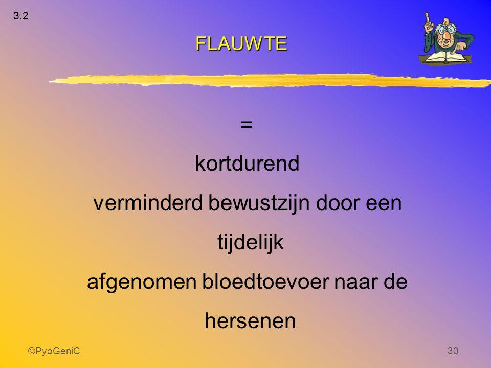 ©PyoGeniC30 FLAUWTE kortdurend verminderd bewustzijn door een tijdelijk afgenomen bloedtoevoer naar de hersenen = 3.2