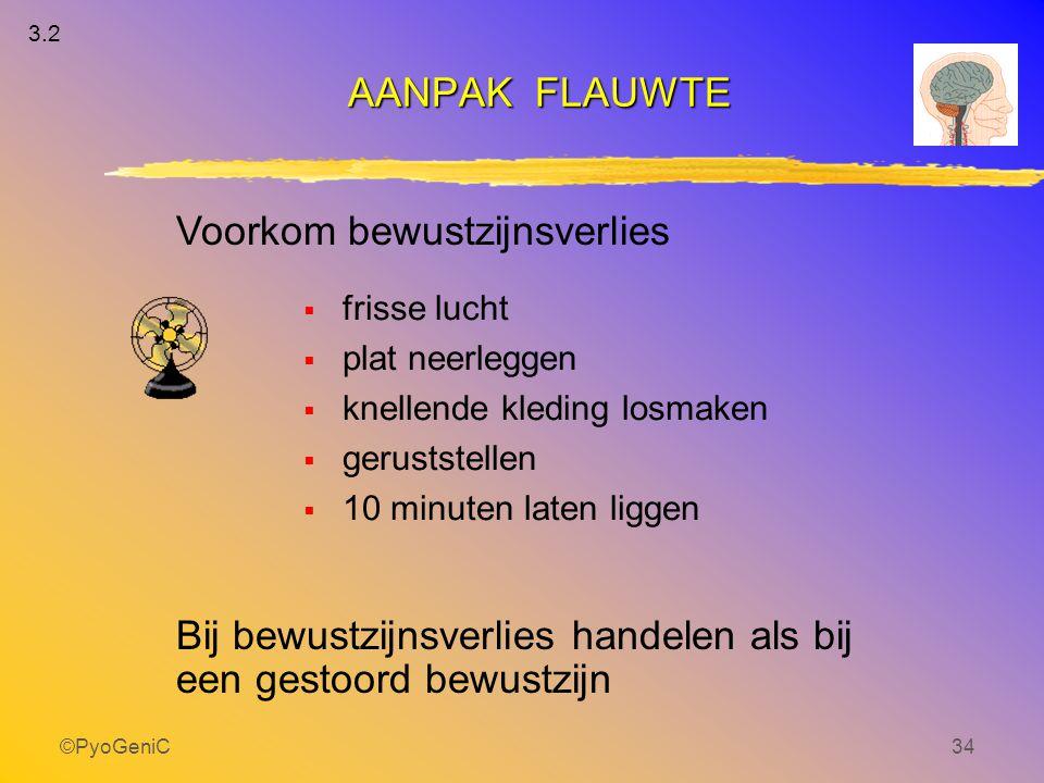 ©PyoGeniC34  frisse lucht  plat neerleggen  knellende kleding losmaken  geruststellen  10 minuten laten liggen AANPAK FLAUWTE Voorkom bewustzijns