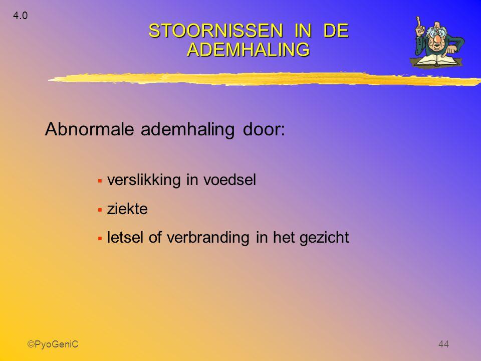 ©PyoGeniC44 STOORNISSEN IN DE ADEMHALING  verslikking in voedsel  ziekte  letsel of verbranding in het gezicht 4.0 Abnormale ademhaling door: