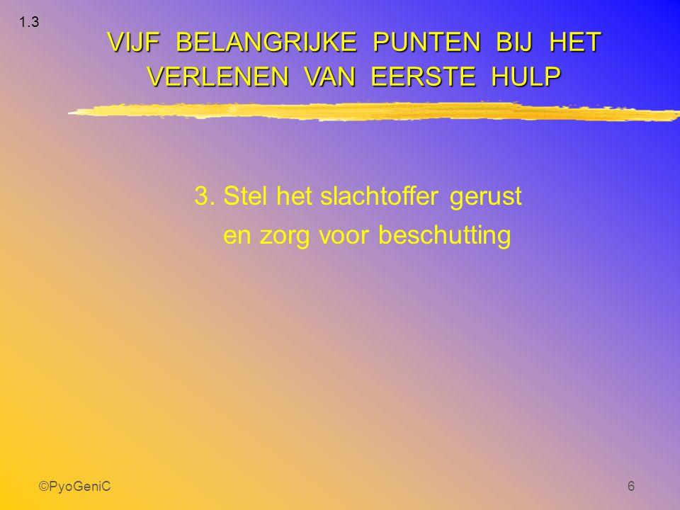 ©PyoGeniC6 3. Stel het slachtoffer gerust en zorg voor beschutting VIJF BELANGRIJKE PUNTEN BIJ HET VERLENEN VAN EERSTE HULP 1.3