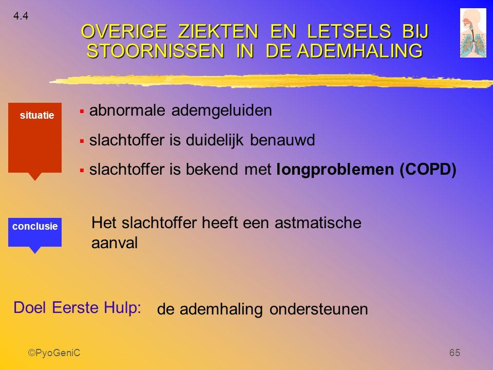 ©PyoGeniC65  abnormale ademgeluiden  slachtoffer is duidelijk benauwd  slachtoffer is bekend met longproblemen (COPD) OVERIGE ZIEKTEN EN LETSELS BI