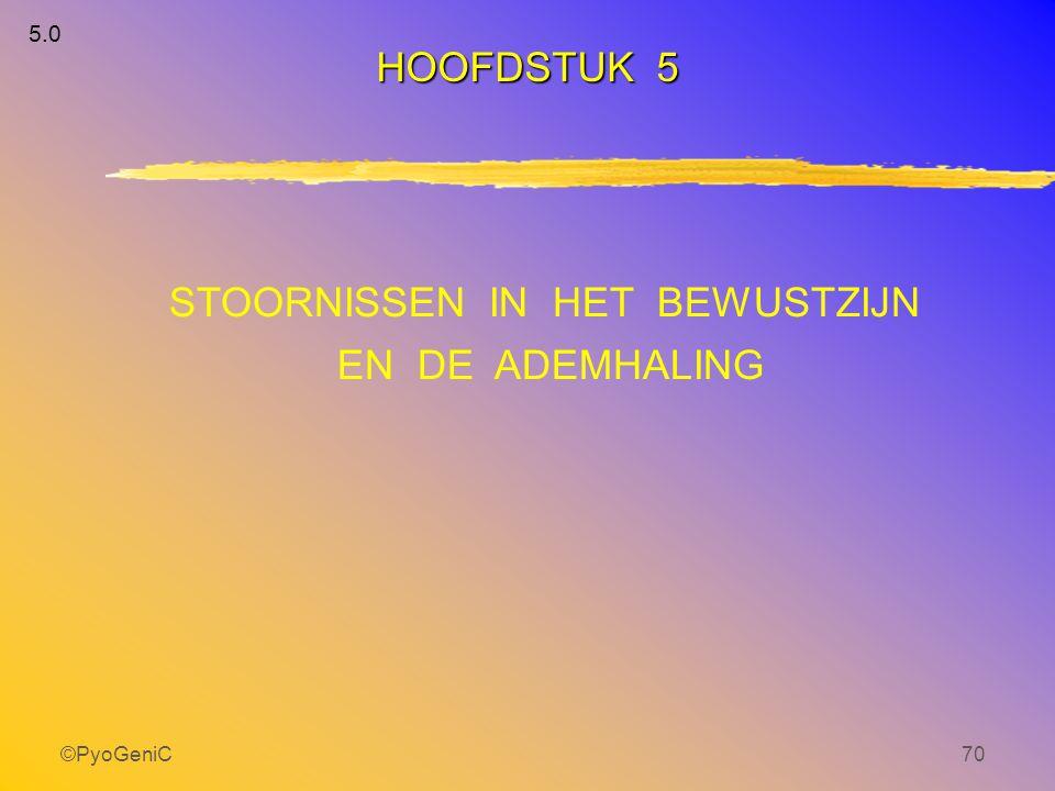 ©PyoGeniC70 5.0 STOORNISSEN IN HET BEWUSTZIJN EN DE ADEMHALING HOOFDSTUK 5