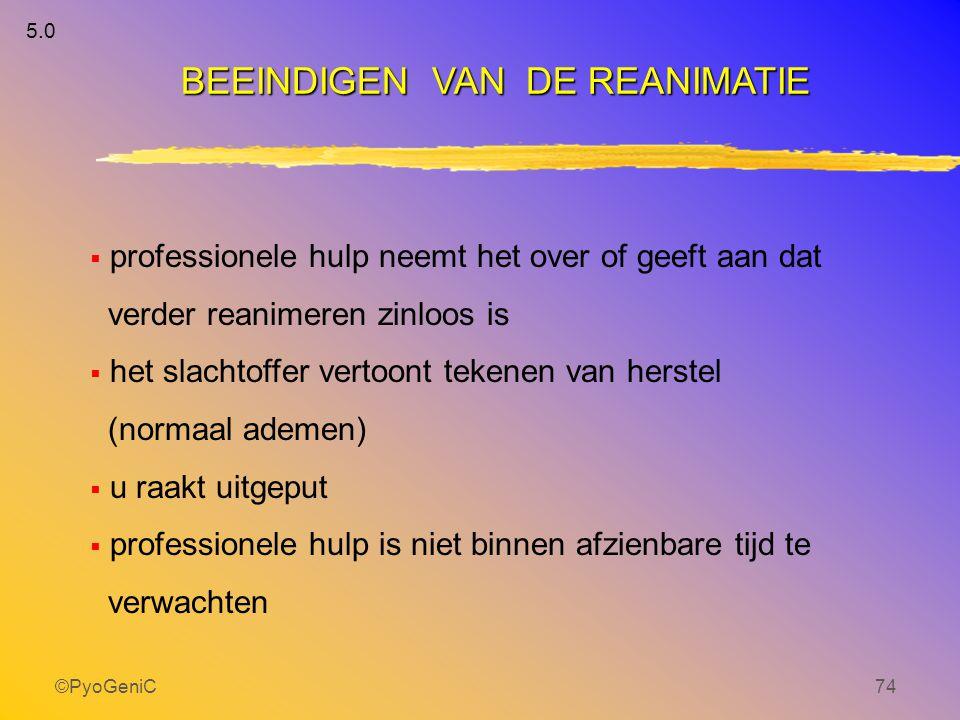 ©PyoGeniC74 BEEINDIGEN VAN DE REANIMATIE  professionele hulp neemt het over of geeft aan dat verder reanimeren zinloos is  het slachtoffer vertoont