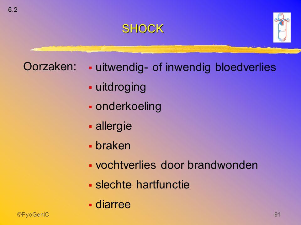©PyoGeniC91  uitwendig- of inwendig bloedverlies  uitdroging  onderkoeling  allergie  braken  vochtverlies door brandwonden  slechte hartfuncti