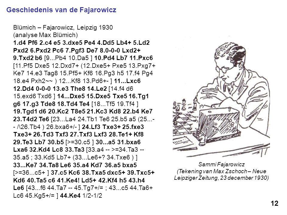 Sammi Fajarowicz (Tekening van Max Zschoch – Neue Leipziger Zeitung, 23 december 1930) 12 Geschiedenis van de Fajarowicz Blümich – Fajarowicz, Leipzig