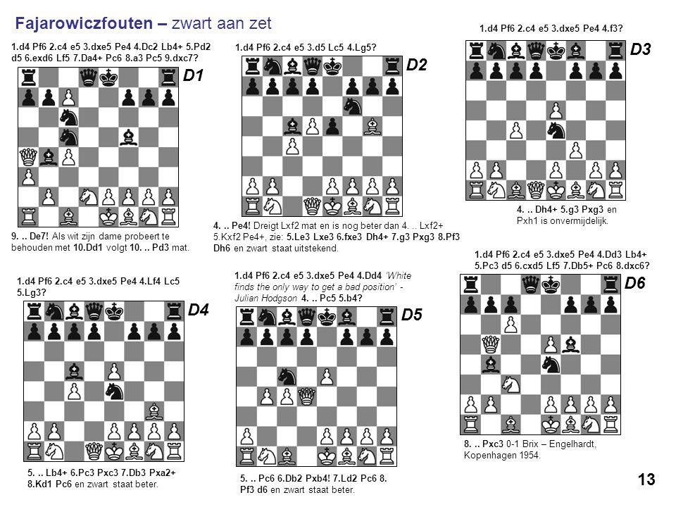 9... De7! Als wit zijn dame probeert te behouden met 10.Dd1 volgt 10... Pd3 mat. 1.d4 Pf6 2.c4 e5 3.dxe5 Pe4 4.Dc2 Lb4+ 5.Pd2 d5 6.exd6 Lf5 7.Da4+ Pc6