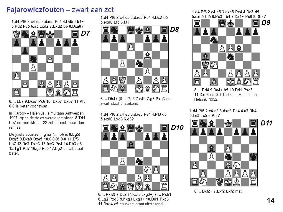 1.d4 Pf6 2.c4 e5 3.dxe5 Pe4 4.Dd5 Lb4+ 5.Pd2 Pc5 6.a3 Lxd2 7.Lxd2 b6 8.Dxa8? 8... Lb7 9.Dxa7 Pc6 10. Dxb7 Dxb7 11.Pf3 0-0 is beter voor zwart. In Karp