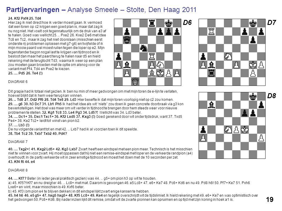 D6 24. Kf2 Pxf4 25. Td4 Hier zag ik niet direct hoe ik verder moest gaan. Ik vermoed dat een toren op c2 krijgen een goed plan is, maar dat zag ik nu