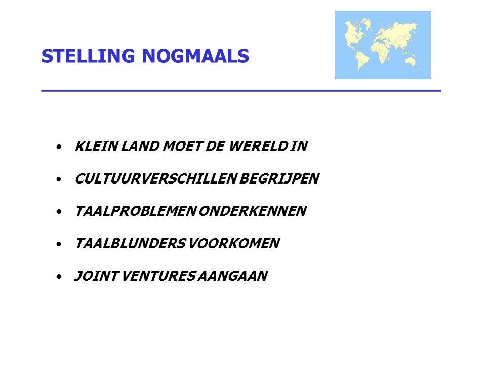 STELLING NOGMAALS _________________________________ KLEIN LAND MOET DE WERELD IN CULTUURVERSCHILLEN BEGRIJPEN TAALPROBLEMEN ONDERKENNEN TAALBLUNDERS V