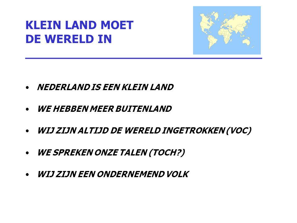 KLEIN LAND MOET DE WERELD IN ________________________________ NEDERLAND IS EEN KLEIN LAND WE HEBBEN MEER BUITENLAND WIJ ZIJN ALTIJD DE WERELD INGETROK