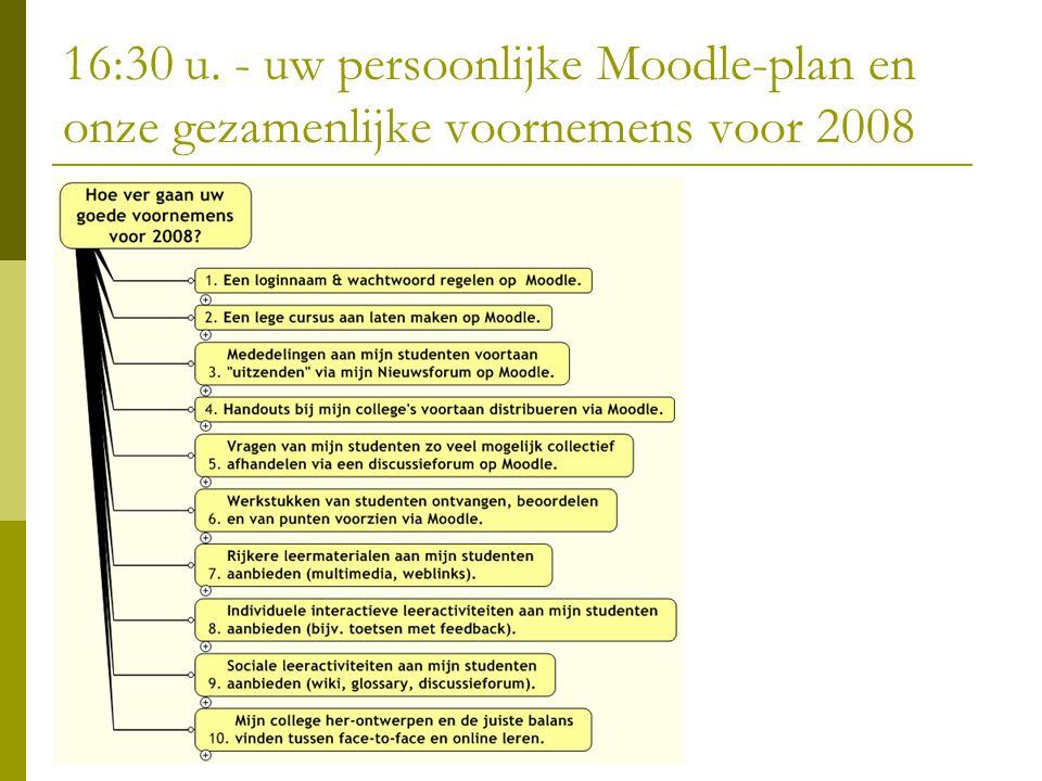 16:30 u. - uw persoonlijke Moodle-plan en onze gezamenlijke voornemens voor 2008