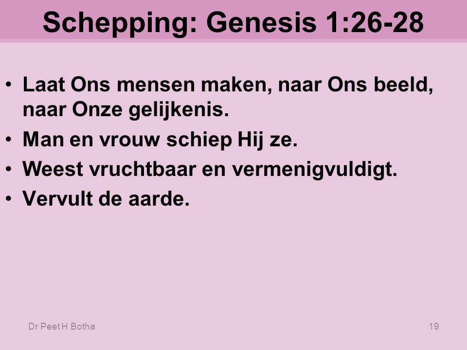 Dr Peet H Botha18 Schepping: Genesis 1:26-28 28.