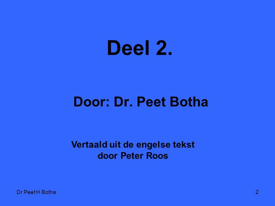 Dr Peet H Botha12 Judaïsme kan geen vrede met homoseksualiteit hebben, omdat homoseksualiteit veel fundamentele beginsels van het Judaïsme loochent.