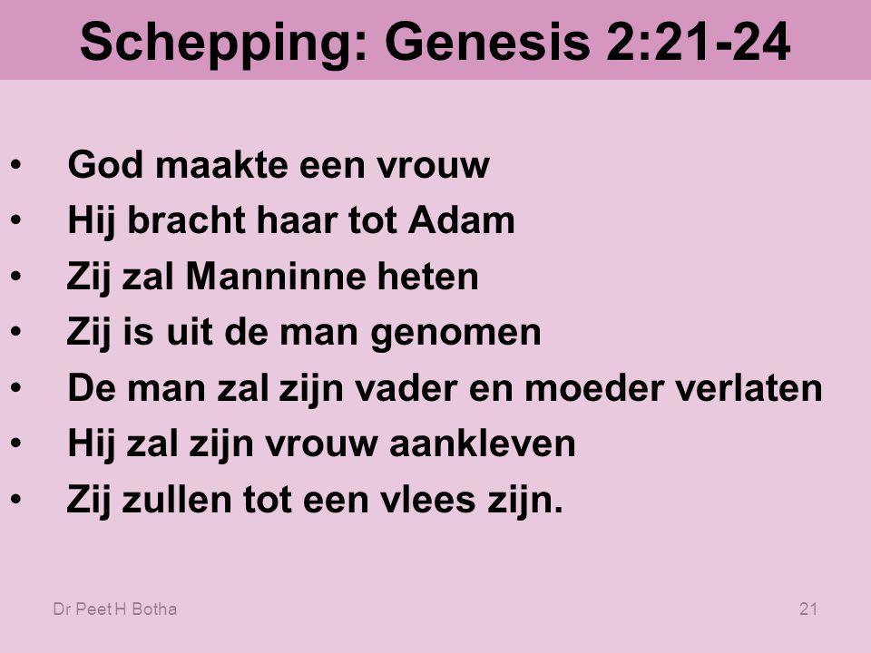 Dr Peet H Botha20 Schepping: Genesis 2:21-24 21.