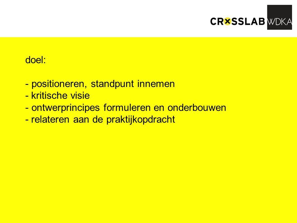 doel: - positioneren, standpunt innemen - kritische visie - ontwerprincipes formuleren en onderbouwen - relateren aan de praktijkopdracht