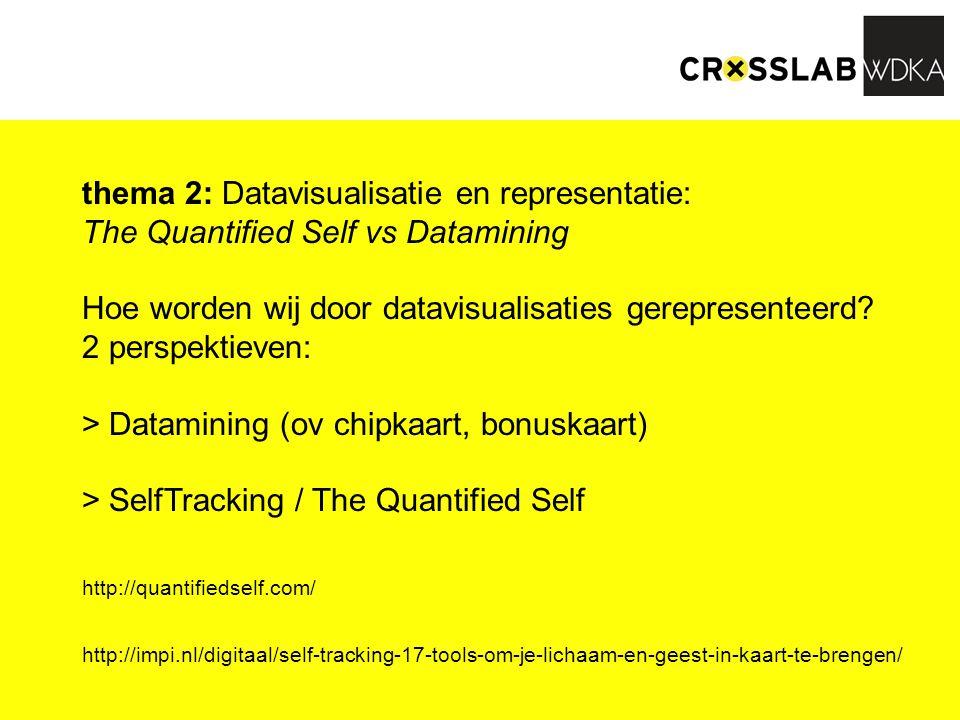 thema 2: Datavisualisatie en representatie: The Quantified Self vs Datamining Hoe worden wij door datavisualisaties gerepresenteerd? 2 perspektieven: