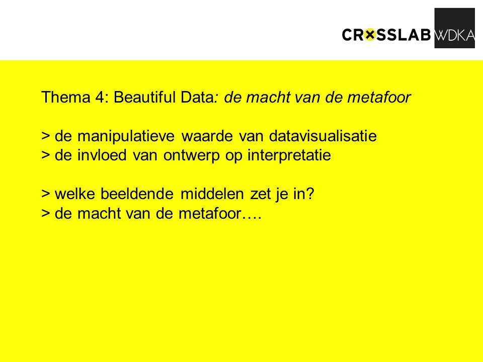 Thema 4: Beautiful Data: de macht van de metafoor > de manipulatieve waarde van datavisualisatie > de invloed van ontwerp op interpretatie > welke beeldende middelen zet je in.