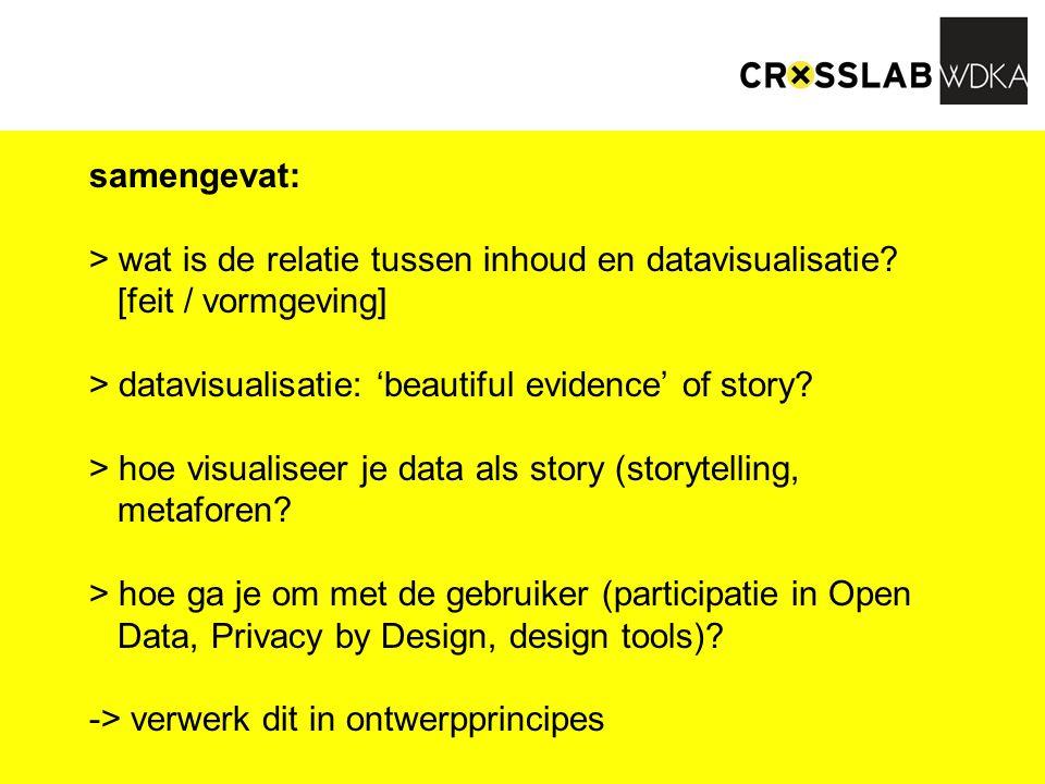 samengevat: > wat is de relatie tussen inhoud en datavisualisatie? [feit / vormgeving] > datavisualisatie: 'beautiful evidence' of story? > hoe visual