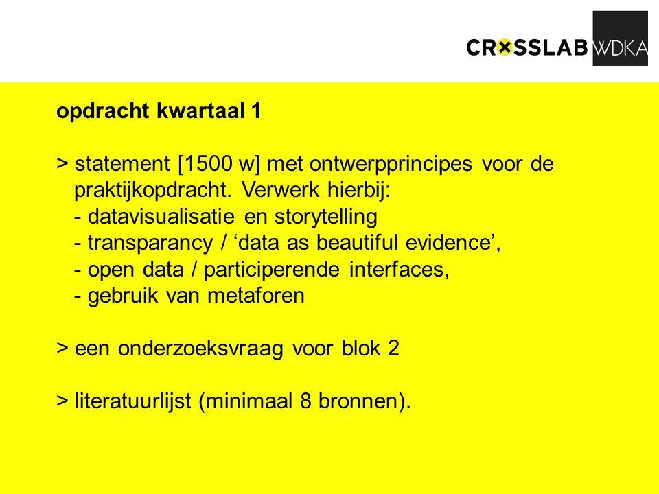 opdracht kwartaal 1 > statement [1500 w] met ontwerpprincipes voor de praktijkopdracht. Verwerk hierbij: - datavisualisatie en storytelling - transpar